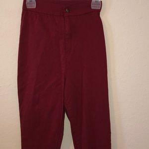 Burgundy High waist stretch pants